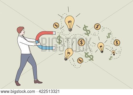 New Idea, Business Success, Money Earning Concept. Young Businessman Cartoon Character Standing And