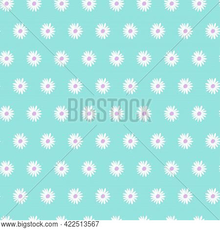 Seamless Floral Pattern With Chamomile Flowers On Blue Background. Vector Design Illustration. Weddi