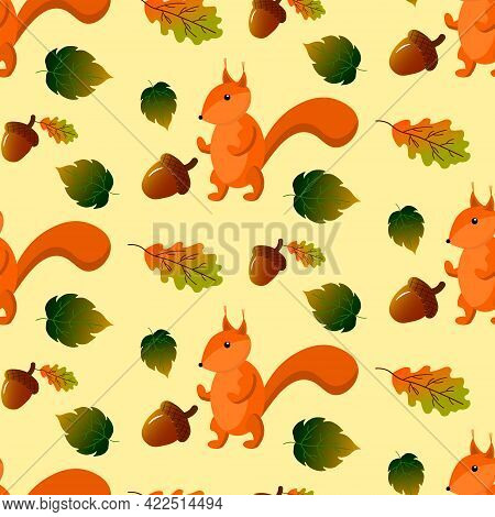 Seamless Pattern With Squirrel, Autumn Leaves And Acorns. Vector Illustration On A Beige Background.