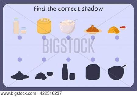 Matching Children Educational Game With Food - Milk, Dimsum, Quark, Falafel, Nuggets . Find The Corr