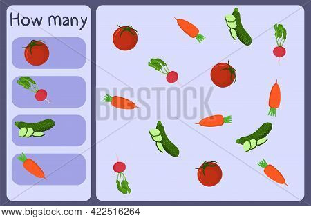 Kids Mathematical Mini Game - Count How Many Vegetables - Tomato, Radish, Zucchini, Carrot. Educatio