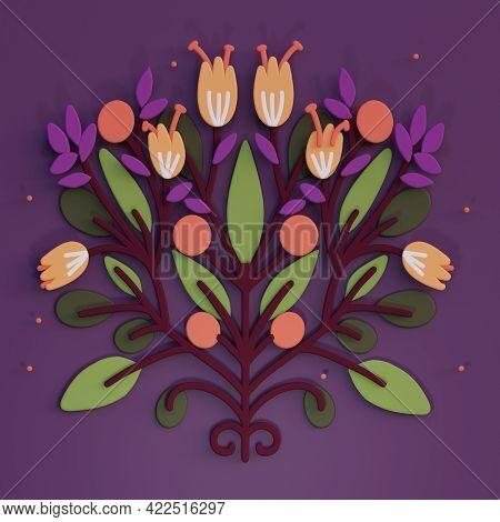 3d Folk Art Illustration, Cartoon Flower Folk Art Compositions, Colorful Render Illustration