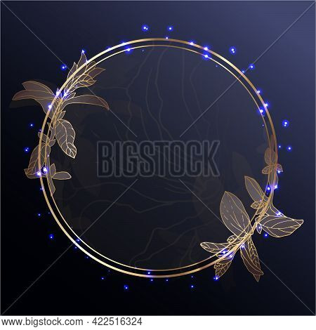 Gold Frame On A Dark Background.circle In Golden Branches On A Dark Blue Background. Glowing Sparks