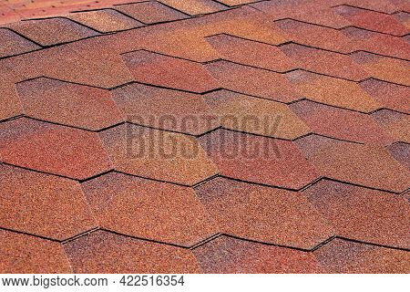 Roof Texture Of Building Covered With Soft Bitumen Shingles Stone Dusting Tiles For Water Resistance
