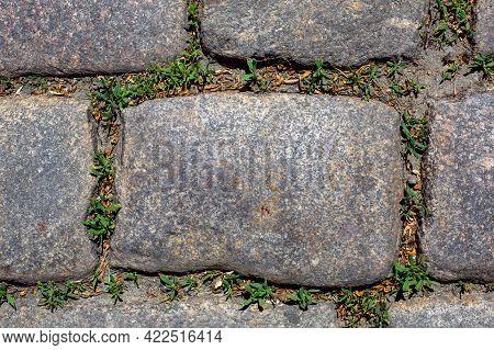 Rectangle Rough Granite Stone Tile Cobblestone Floor Of Decorative Patio Pathway Closeup Top View, N