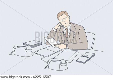 Debts, Bankrupt, Money Loss Concept. Young Frustrated Businessmen Cartoon Character Sitting Losing J
