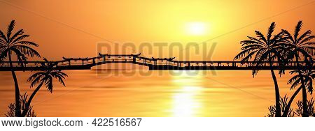 Dark Palm Trees Silhouettes On Colorful Tropical Ocean Sunset Background, Vector Illustration.