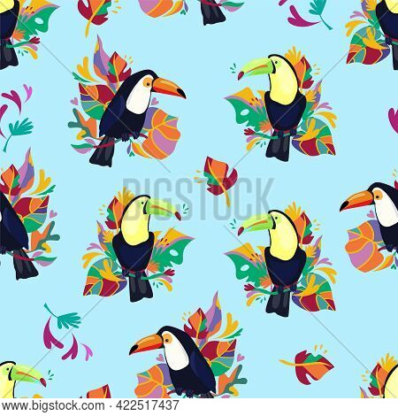 Toucan With Tropical Leaves Background Seamless Pattern Print Design For Textiles Summer Tropics Vec