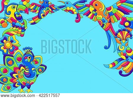 Decorative Background With Tropical Birds. Mexican Ceramic Cute Naive Art.
