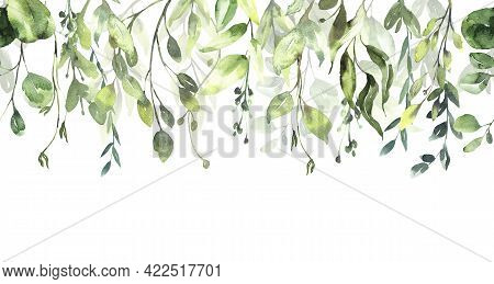 Watercolor Floral Illustration Green Leaf Seamless Pattern, For Wedding Stationary, Greetings, Wallp