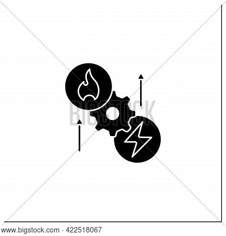 Thermoelectric Generator Glyph Icon. Seebeck Generator. Thermal Energy Conversion To Electrical Ener