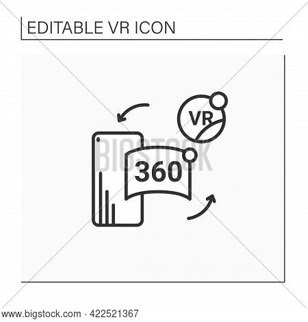 Vr In Cell Phone Line Icon. Virtual Reality Application On Telephone. Special App Helps Immerse Into