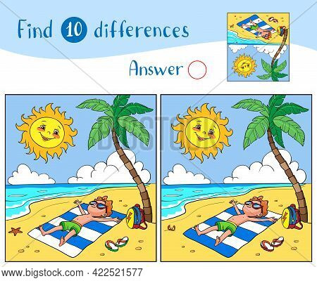 Find 10 Differences. Educational Game For Children. The Boy Sunbathes On The Beach With A Palm Tree