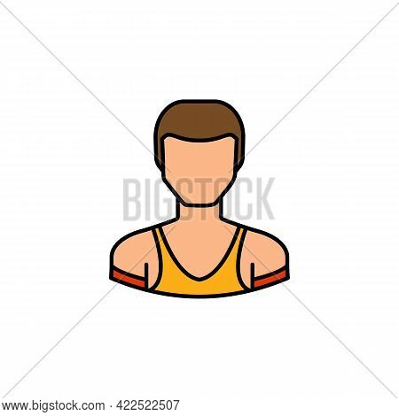 Avatar Weightlifting Outline Colored Icon. Signs And Symbols Can Be Used For Web Logo Mobile App Ui