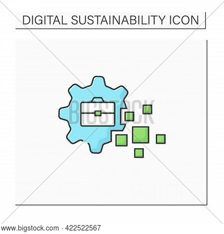 Business Transformation Color Icon.fundamental Changes In Business Sphere. Digital Technology Integr