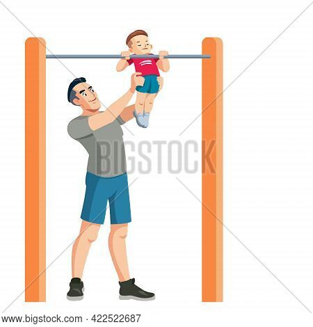 Father Teaches His Son To The Sport. Sporty Family. Outdoor Activity. Son And Dad In Sportswear. Hap