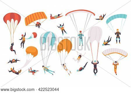 Skydivers Flying With Parachutes Set, Extreme Sport, Parachuting, Paragliding And Skydiving Concept