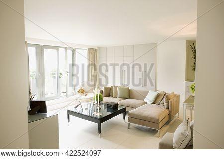 Interior Of Off-white Modern Livingroom Quality Image
