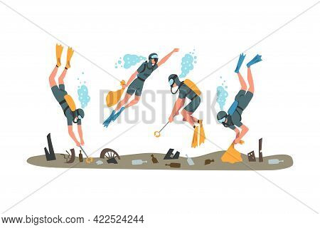 Scuba Divers Collecting Trash In Ocean, Pollution Of Sea, Ocean Or River, Ecology Protection Concept