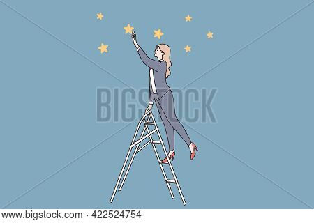Success, Leader, Possibilities Concept. Young Business Woman Standing On Ladder And Looking Ahead Fo