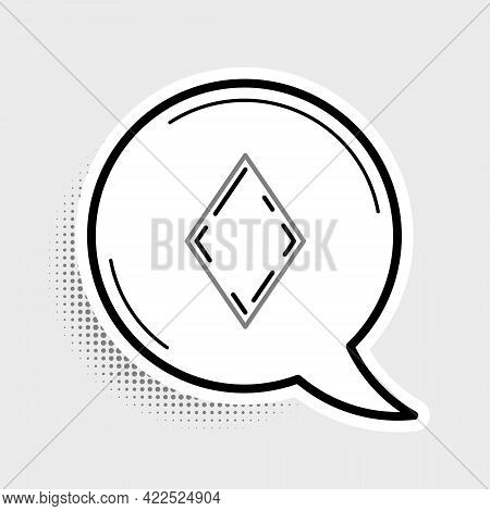 Line Playing Card With Diamonds Symbol Icon Isolated On Grey Background. Casino Gambling. Colorful O