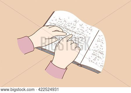 Blind People Reading Books Concept. Human Hands Reading Book Story On Paper Written In Braille, Clos