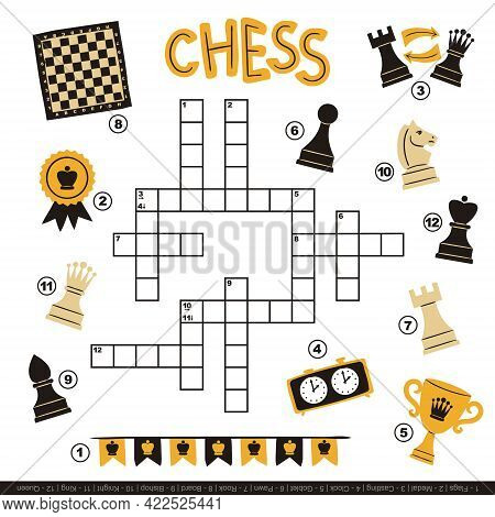 Chess Crossword For Kids. Children's Smart Game With Cartoon Elements. Set Of Hand Drawn Chess Piece