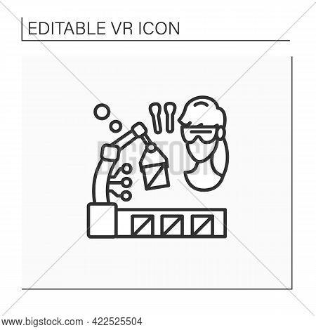 Vr Manufacturing Line Icon. Digital Design, Simulation, And Integration. Digital Production Training