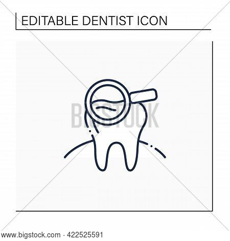 Dental Screening Line Icon. Searching Problems, Disease Treatments. Healthcare Concept. Tooth Surger