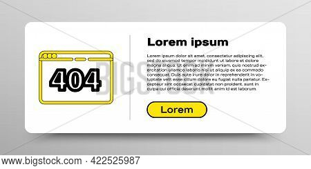 Line Page With A 404 Error Icon Isolated On White Background. Template Reports That The Page Is Not