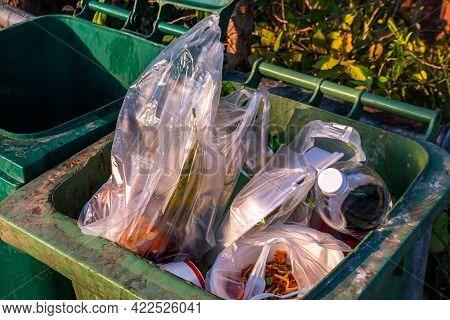 Plastic Garbage Waste On Trash, Lots Of Plastic Waste On The Bin, Pollution Waste