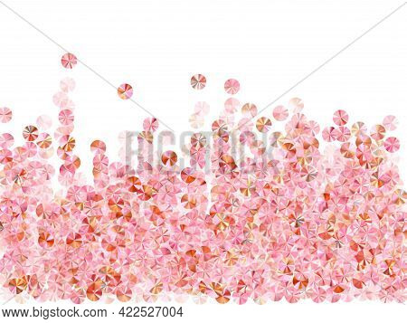 Rose Gold Tinsels Confetti Placer Vector Composition. Valentines Day Background Design. Luxury Glowi