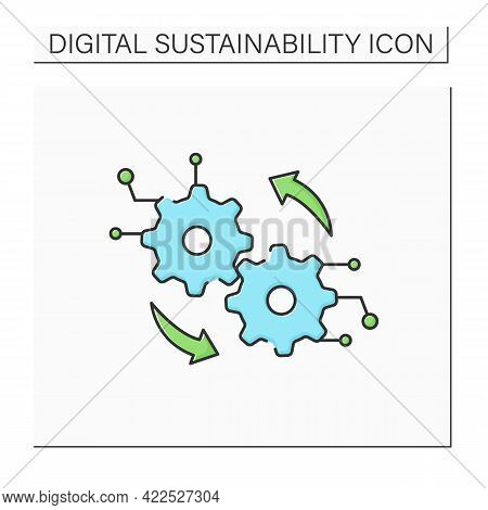 Digital Operation Color Icon.transformation Center. Digitalization. Modern Technology. Sensing And O