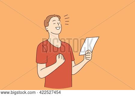 Positive Emotions, Celebrating Concept. Young Smiling Happy Boy Cartoon Character Standing With Note