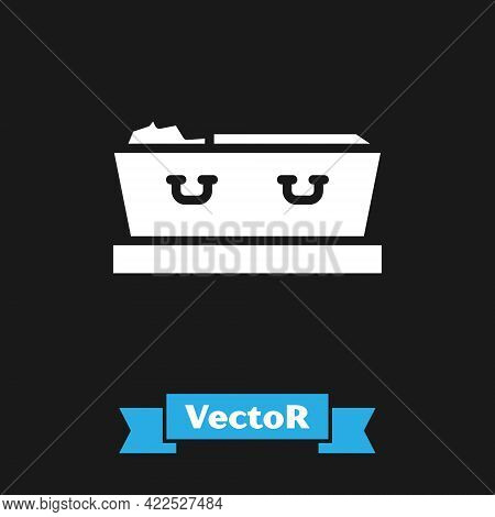 White Open Coffin With Dead Deceased Body Icon Isolated On Black Background. Funeral After Death. Co