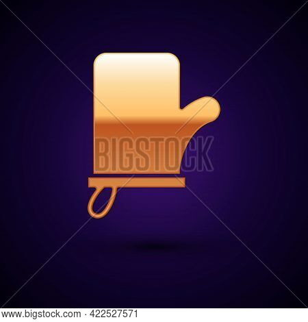 Gold Sauna Mittens Icon Isolated On Black Background. Mitten For Spa. Vector