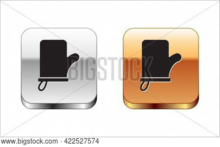 Black Sauna Mittens Icon Isolated On White Background. Mitten For Spa. Silver-gold Square Button. Ve