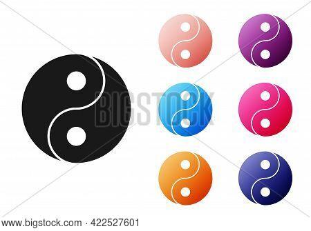 Black Yin Yang Symbol Of Harmony And Balance Icon Isolated On White Background. Set Icons Colorful.