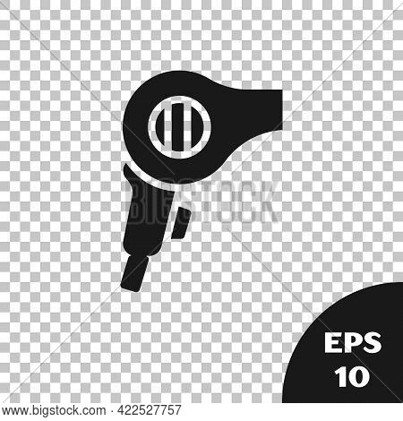 Black Hair Dryer Icon Isolated On Transparent Background. Hairdryer Sign. Hair Drying Symbol. Blowin