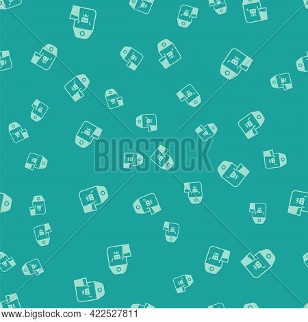 Green Paper Package For Milk And Glass Icon Isolated Seamless Pattern On Green Background. Milk Pack
