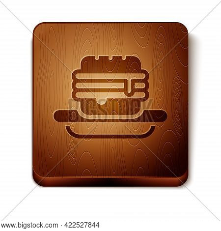 Brown Junk Food Icon Isolated On White Background. Prohibited Hot Dog. No Fast Food Sign. Wooden Squ
