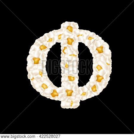 Cyrillic Alphabet Letter Made Up Of Airy Popcorn. Vector Illustration