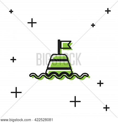 Black Floating Buoy On The Sea Icon Isolated On White Background. Vector
