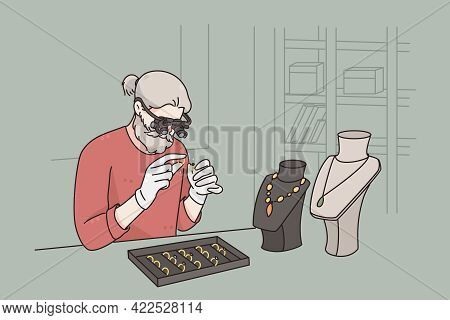 Working As Jeweler In Jewerely Store Concept. Grey Haired Man Cartoon Character Sitting Examining Di