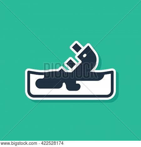 Blue Wrecked Oil Tanker Ship Icon Isolated On Green Background. Oil Spill Accident. Crash Tanker. Po