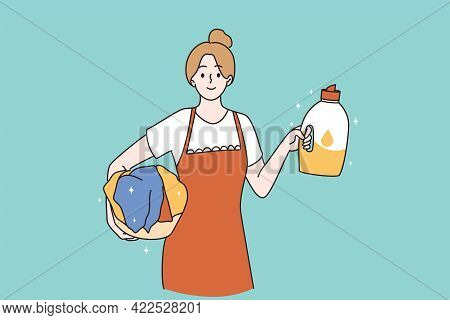 Housemaid And Housewife Concept. Portrait Of Smiling Positive Woman Cartoon Character Working As Hou