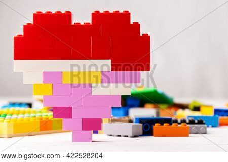 Heart Shaped Toy Constructor Details On White Background