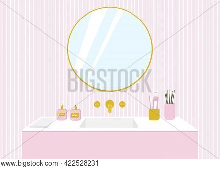 Illustration Of A Bathroom, Washbasin With Gold Taps, A Mirror On A Pink Wall.