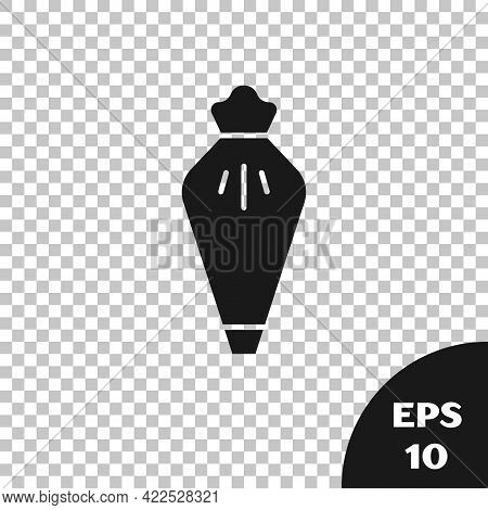 Black Pastry Bag For Decorate Cakes With Cream Icon Isolated On Transparent Background. Kitchenware