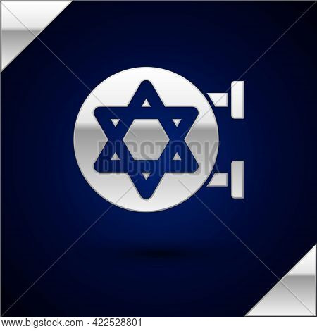 Silver Jewish Synagogue Building Or Jewish Temple Icon Isolated On Dark Blue Background. Hebrew Or J